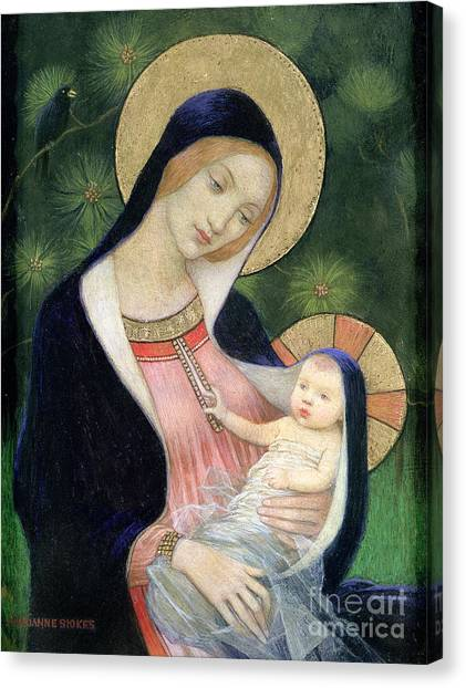Fir Trees Canvas Print - Madonna Of The Fir Tree by Marianne Stokes