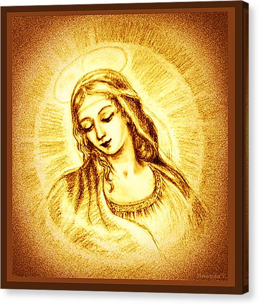 Rennaissance Art Canvas Print - Madonna With The Halo  by Ananda Vdovic
