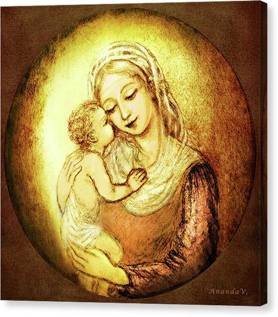 Rennaissance Art Canvas Print - Mary And Jesus  by Ananda Vdovic