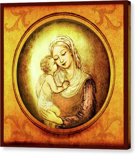 Rennaissance Art Canvas Print - Madonna With The Kissing Child - In Golden Frame by Ananda Vdovic