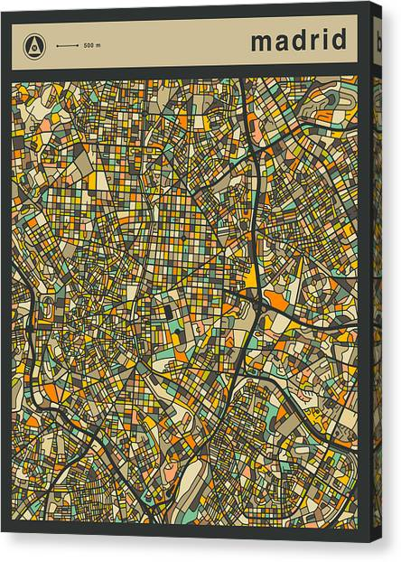 Madrid Canvas Print - Madrid City Map by Jazzberry Blue