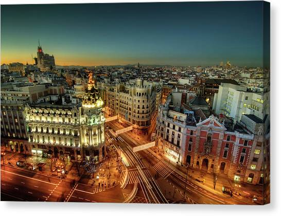Madrid Canvas Print - Madrid Cityscape by Photo by cuellar