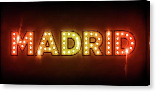 Neon Canvas Print - Madrid In Lights by Michael Tompsett