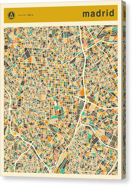 Madrid Canvas Print - Madrid Map 2 by Jazzberry Blue