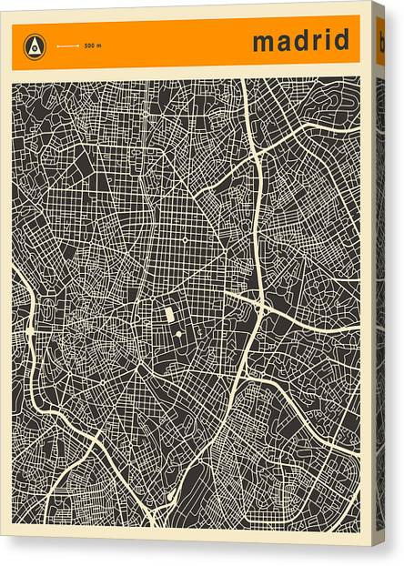 Madrid Canvas Print - Madrid Map by Jazzberry Blue