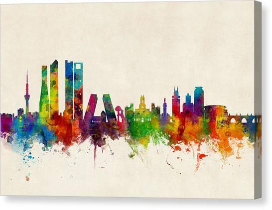 Spain Canvas Print - Madrid Spain Skyline by Michael Tompsett