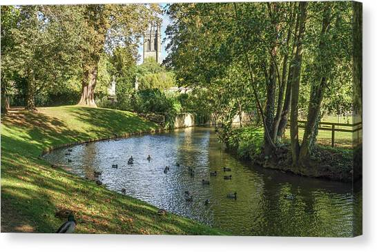 Magdalen From The River Cherwell Canvas Print