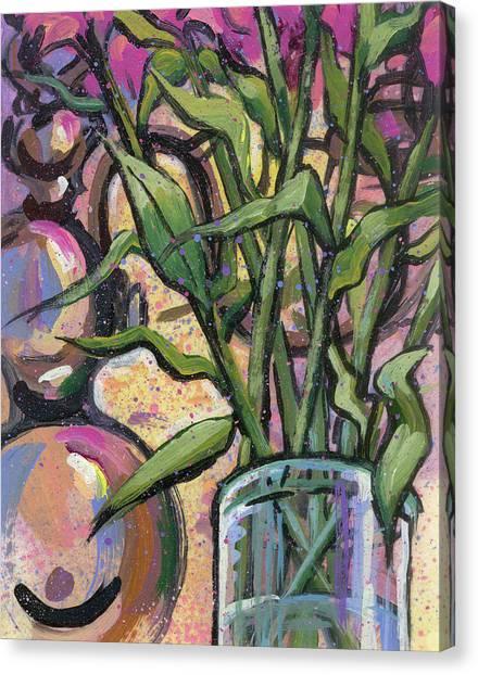 Magenta Bouquet On Mantel Canvas Print