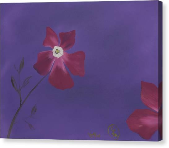 Magenta Flower On Plum Background Canvas Print