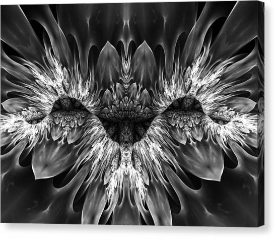Black and white flora canvas print magenta until black and white 2 by amorina