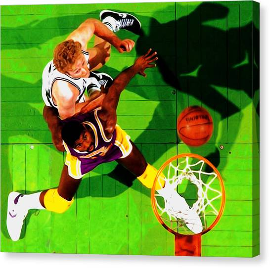 Larry Bird Canvas Print - Magic And Bird by Brian Reaves