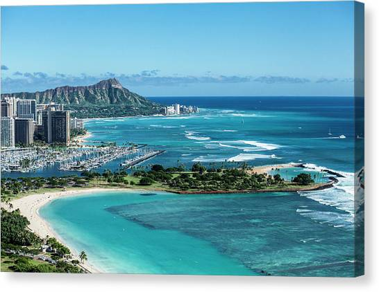 Helicopter Canvas Print - Magic Island To Diamond Head by Sean Davey