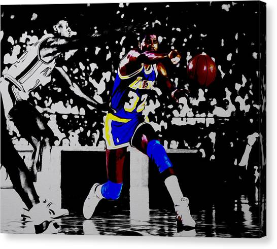 Larry Bird Canvas Print - Magic Johnson Bounce Pass by Brian Reaves