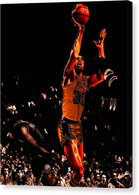 Larry Bird Canvas Print - Magic Johnson Lean Back II by Brian Reaves