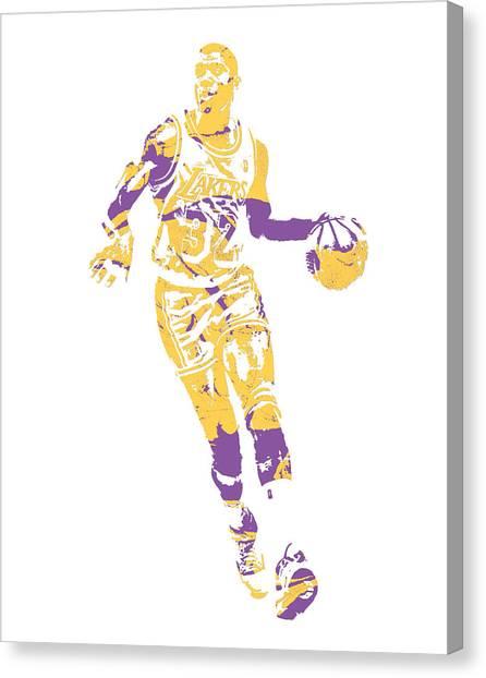 Magic Johnson Canvas Print - Magic Johnson Los Angeles Lakers Pixel Art 10 by Joe Hamilton