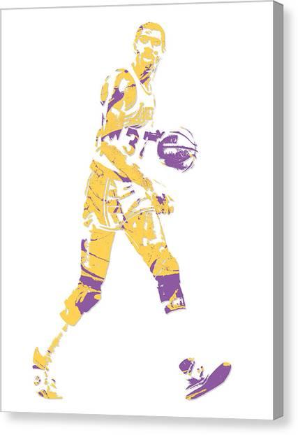 Magic Johnson Canvas Print - Magic Johnson Los Angeles Lakers Pixel Art 5 by Joe Hamilton