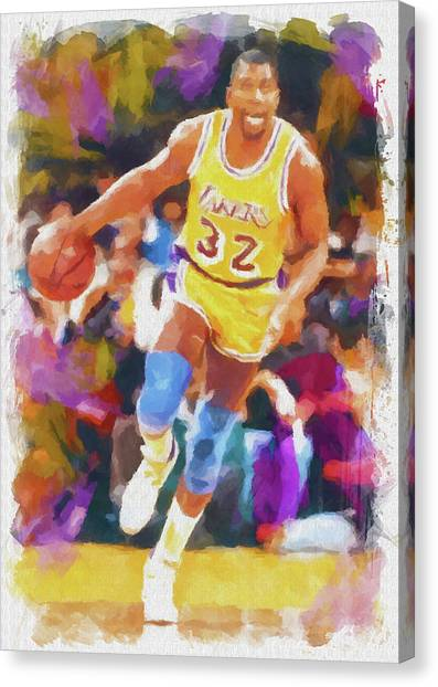 Magic Johnson Canvas Print - Magic Johnson by Ricky Barnard