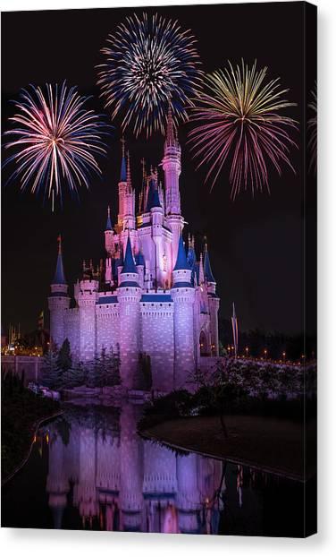 Magic Kingdom Castle Under Fireworks Canvas Print