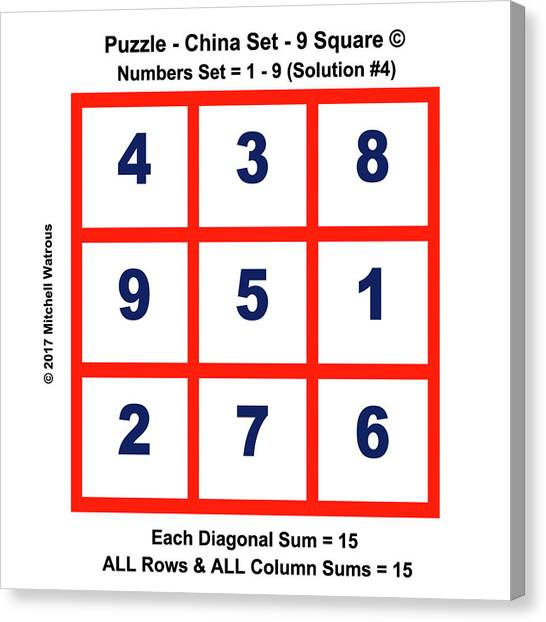 Sudoku Canvas Print - Magic Squares 9 - Solution #4 by Mitchell Watrous