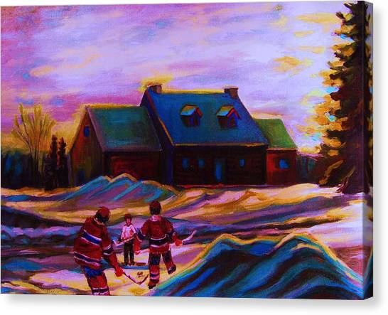 Afterschool Hockey Montreal Canvas Print - Magical Day For Hockey by Carole Spandau