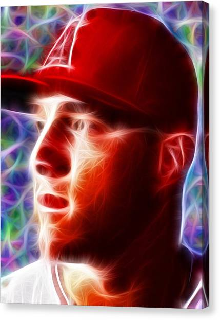 Los Angeles Angels Canvas Print - Magical Mike Trout by Paul Van Scott