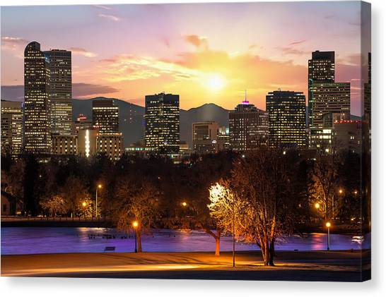 Magical Mountain Sunset - Denver Colorado Downtown Skyline Canvas Print