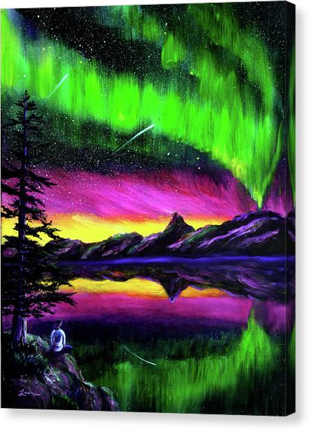 Shooting Stars Canvas Print - Magical Night Meditation by Laura Iverson