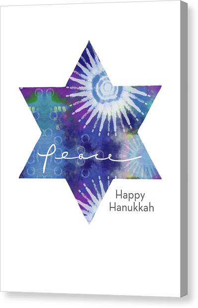 Tie-dye Canvas Print - Magical Peaceful Hanukkah- Art By Linda Woods by Linda Woods