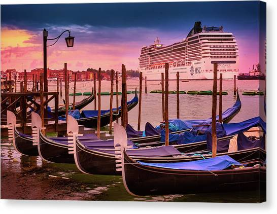 Gondolas And Cityscape At Sunset In Venice, Italy Canvas Print
