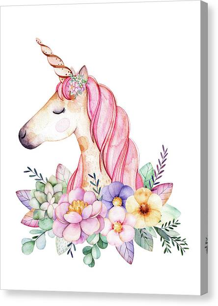 Girl Canvas Print - Magical Watercolor Unicorn by Lisa Spence