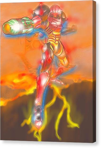 Metroid Canvas Print - Magma Suit by Chris Meyers