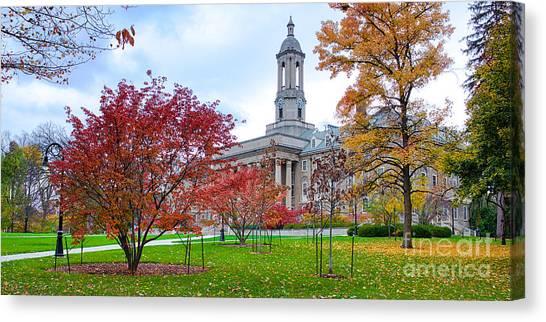 Pennsylvania State University Canvas Print - Magnificent Fall Colors, Old Main, University Park, Pennsylvania by Steve Vallotton