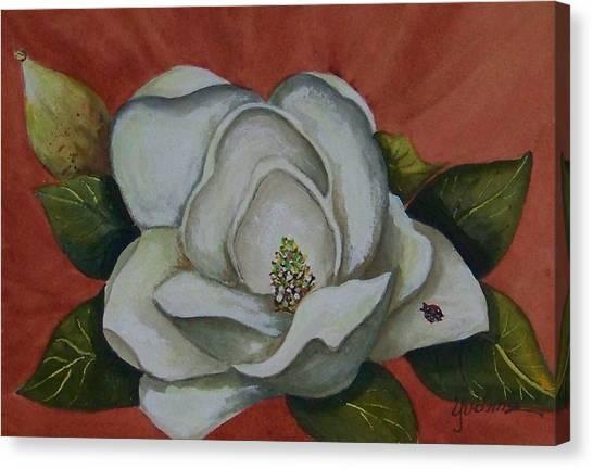 Magnolia Bloom With Ladybug Canvas Print by Yvonne Kinney
