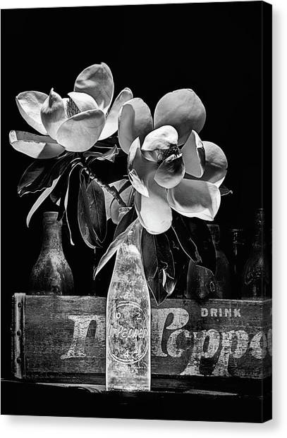 Dr. Pepper Canvas Print - Magnolia Dr Pepper Still Life In Black And White by JC Findley