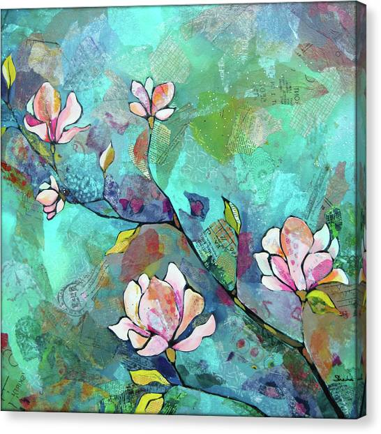 Turquoise Canvas Print - Magnolias by Shadia Derbyshire