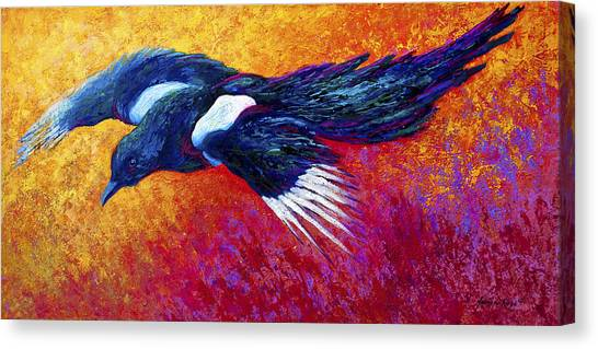 Ravens Canvas Print - Magpie In Flight by Marion Rose
