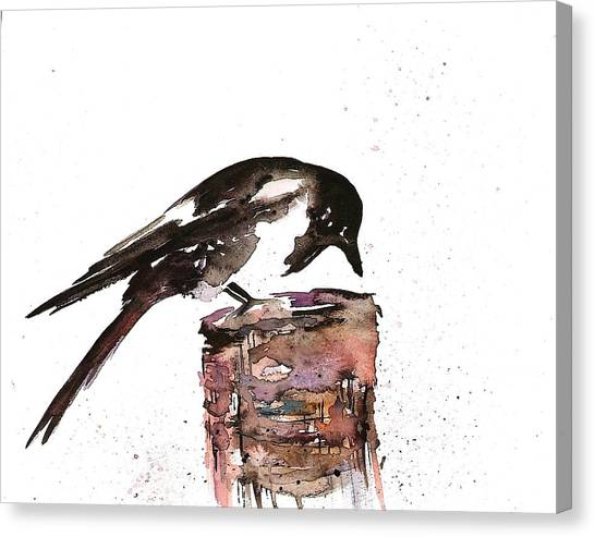 Magpies Canvas Print - Magpie On A Stump by Carolyn Doe