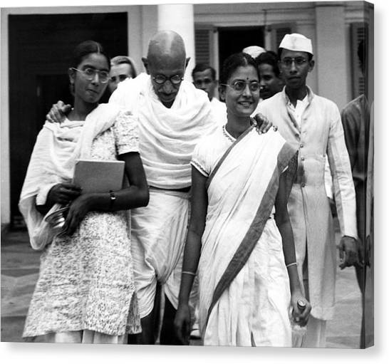 Mahatma Gandhi At Age 70 With His Two Photograph By Everett