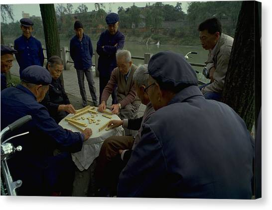 Blue Travelpics Canvas Print - Mahjong In Guangzhou by Travel Pics