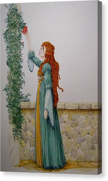 Maiden And The Rose Canvas Print by Theresa Higby