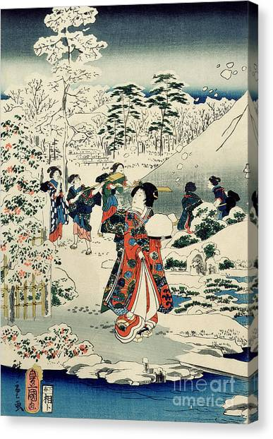 Japanese Garden Canvas Print - Maids In A Snow Covered Garden by Hiroshige