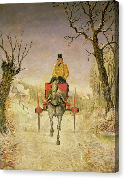 Carts Canvas Print - Mail Cart Christmas by R R Ripley