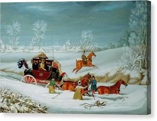 Snow Bank Canvas Print - Mail Coach In The Snow by John Pollard