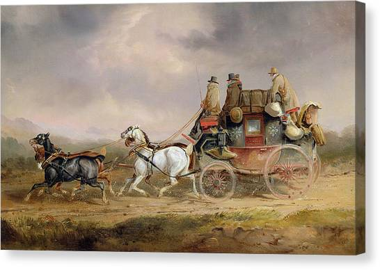 Horse And Carriage Canvas Print - Mail Coaches On The Road - The Louth-london Royal Mail Progressing At Speed by Charles Cooper Henderson