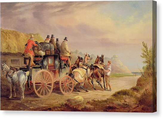 Horse And Carriage Canvas Print - Mail Coaches On The Road - The 'quicksilver'  by Charles Cooper Henderson