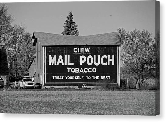 Mail Pouch Tobacco In Black And White Canvas Print