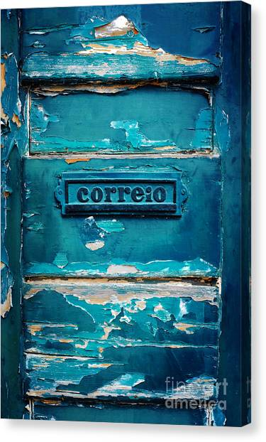 Old Door Canvas Print - Mailbox Blue by Carlos Caetano