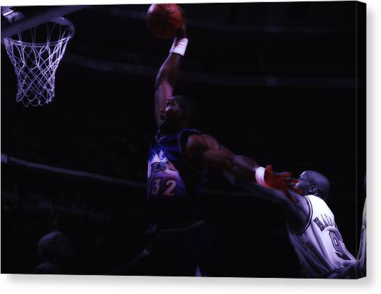 La Lakers Canvas Print - Mailman Midnight Delivery by Brian Reaves