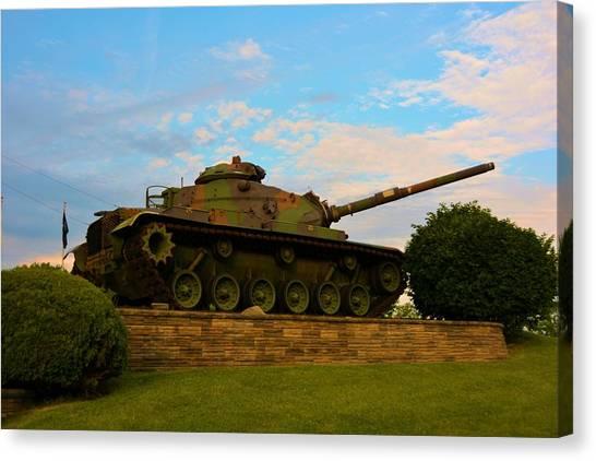 Green Camo Canvas Print - Main Battle Tank2 by Richard Jenkins