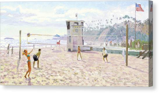 Volleyball Canvas Print - Main Beach Volleyball by Steve Simon